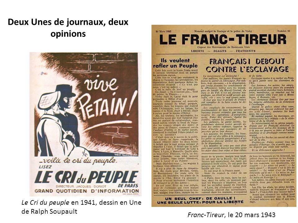 Deux Unes de journaux, deux opinions