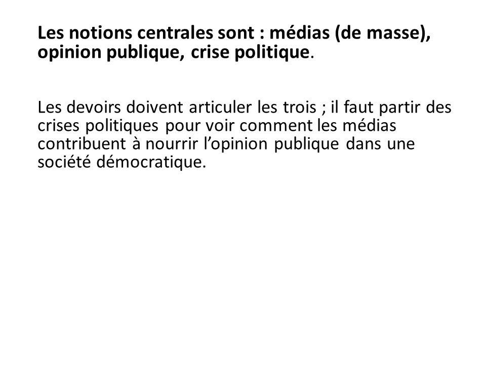 Les notions centrales sont : médias (de masse), opinion publique, crise politique.