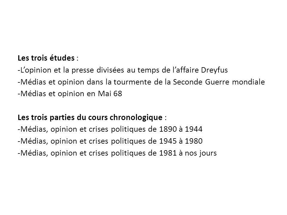 Les trois études : -L'opinion et la presse divisées au temps de l'affaire Dreyfus.