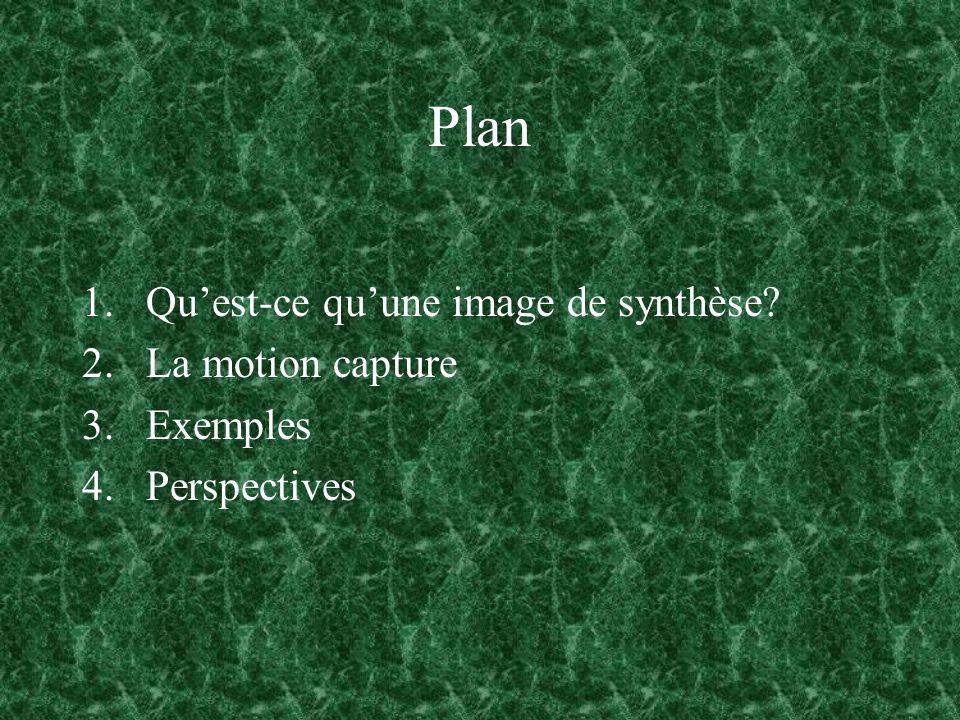 Plan Qu'est-ce qu'une image de synthèse La motion capture Exemples