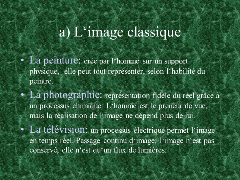 a) L'image classique La peinture: crée par l'homme sur un support physique, elle peut tout représenter, selon l'habilité du peintre.