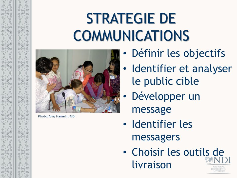 STRATEGIE DE COMMUNICATIONS