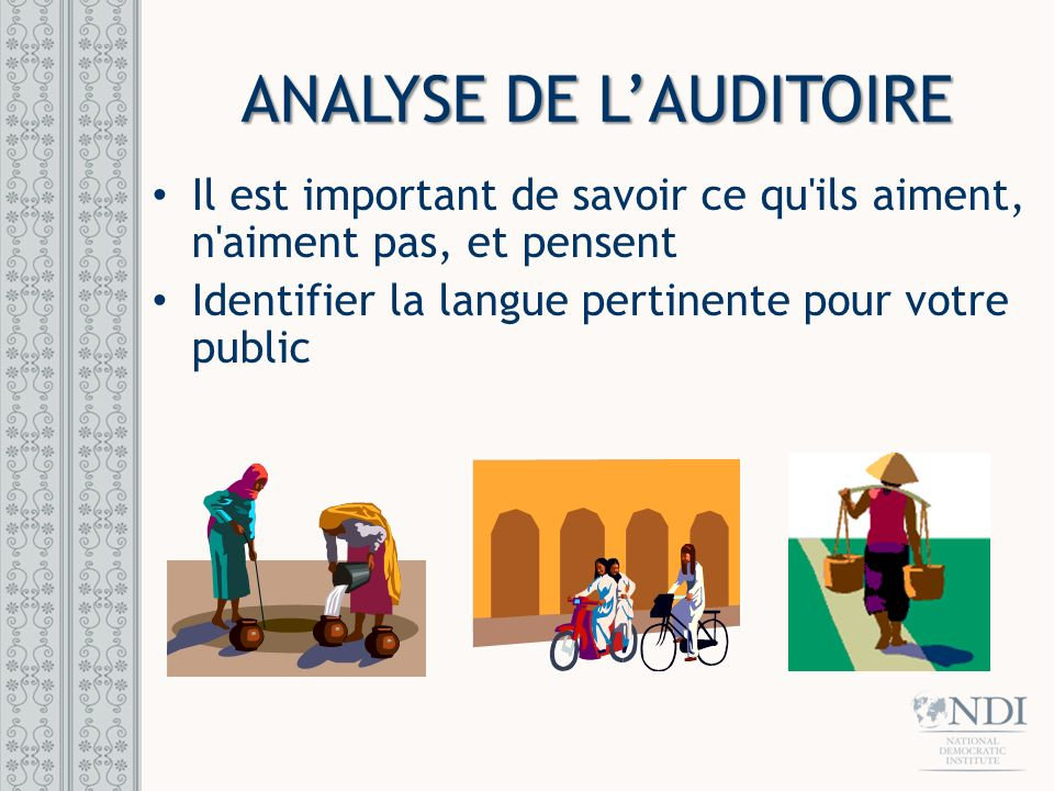ANALYSE DE L'AUDITOIRE