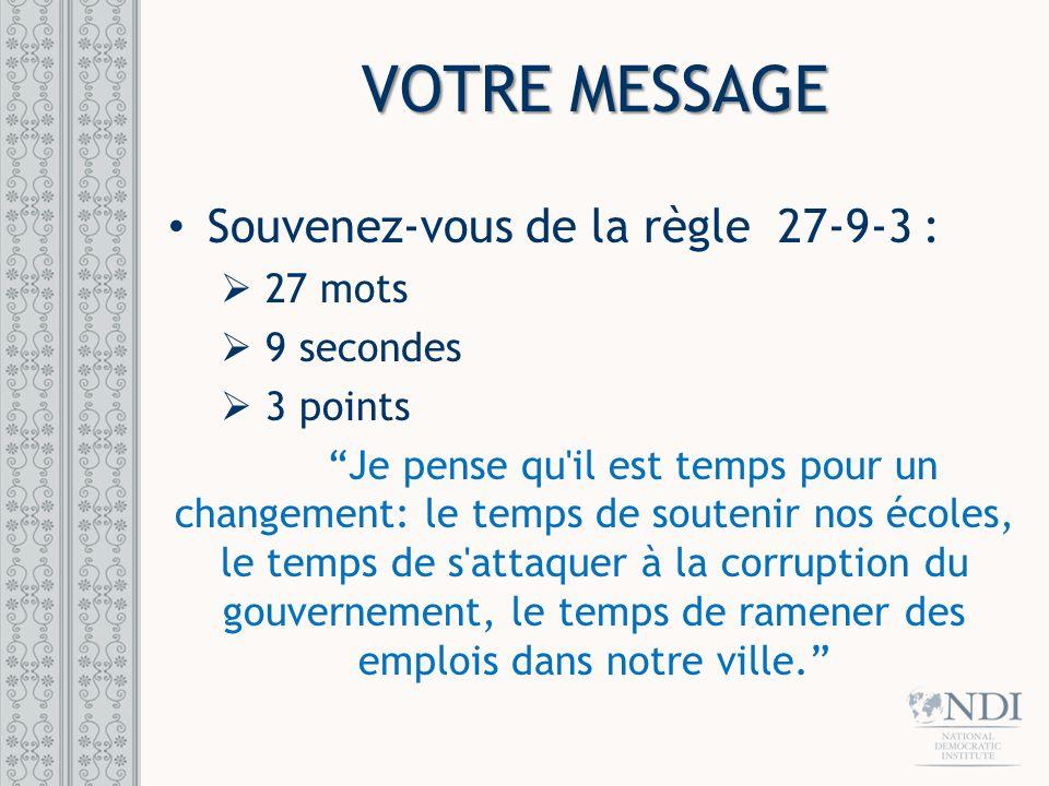 VOTRE MESSAGE Souvenez-vous de la règle 27-9-3 : 27 mots 9 secondes