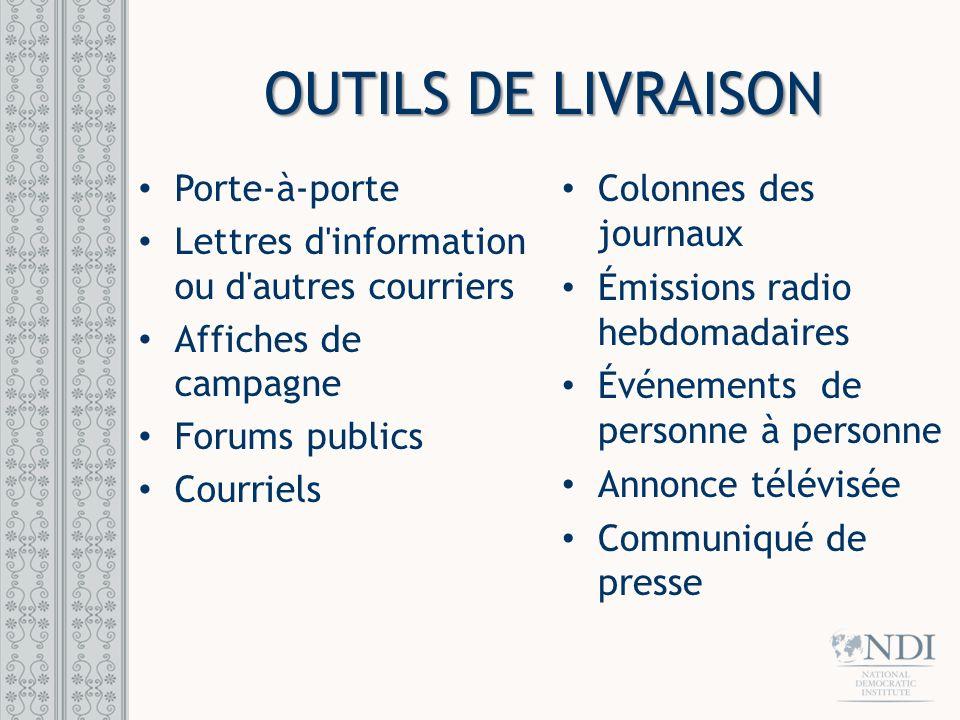 OUTILS DE LIVRAISON Porte-à-porte