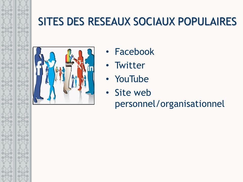 SITES DES RESEAUX SOCIAUX POPULAIRES