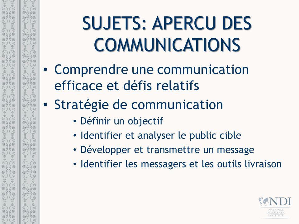 Sujets: Apercu des communications