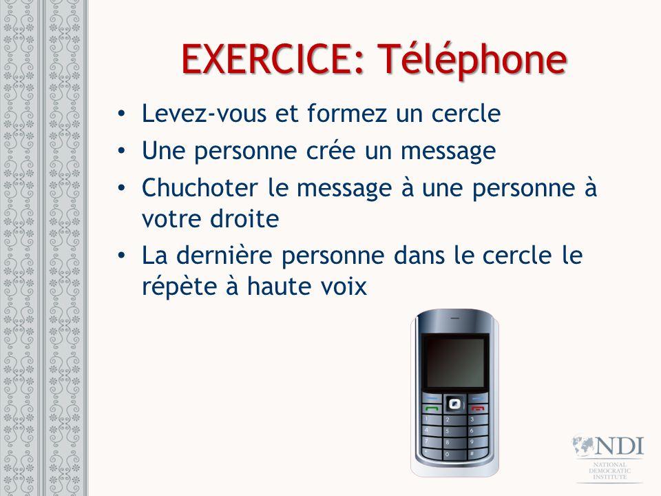 EXERCICE: Téléphone Levez-vous et formez un cercle
