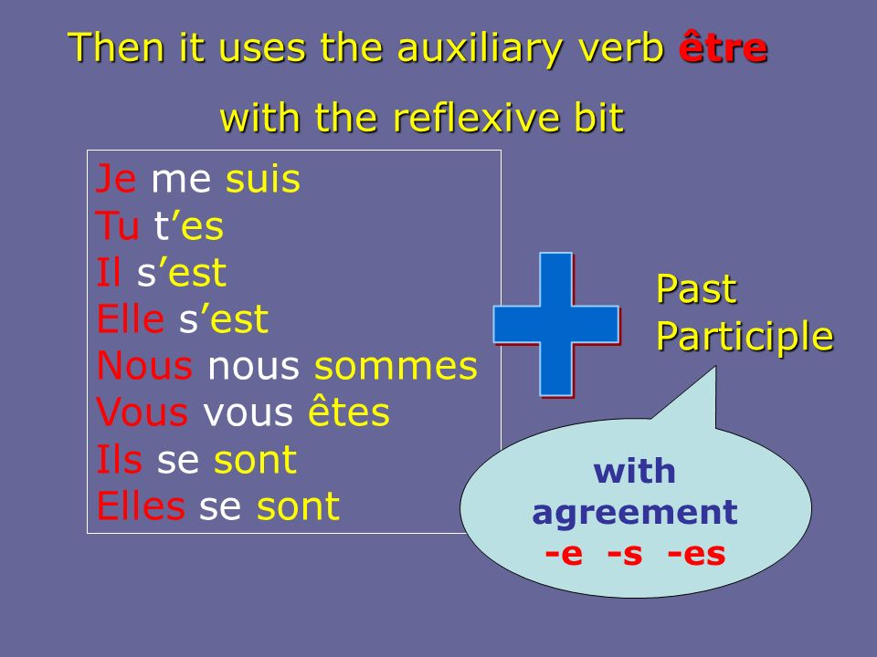 + Then it uses the auxiliary verb être with the reflexive bit