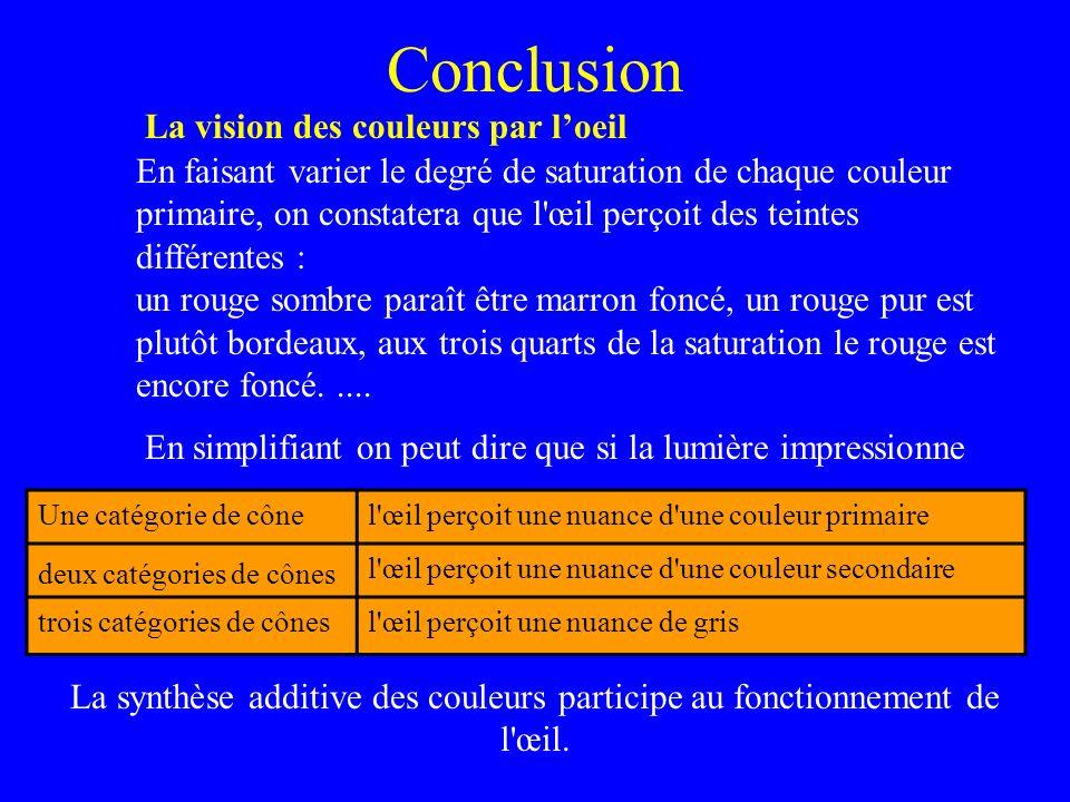Conclusion La vision des couleurs par l'oeil