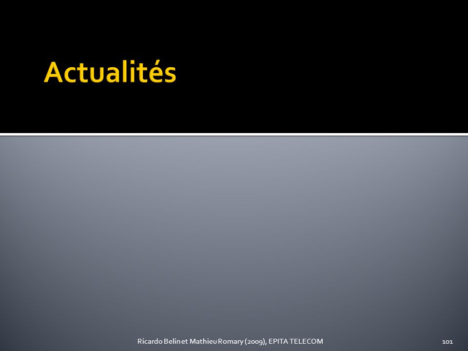 Actualités Ricardo Belin et Mathieu Romary (2009), EPITA TELECOM