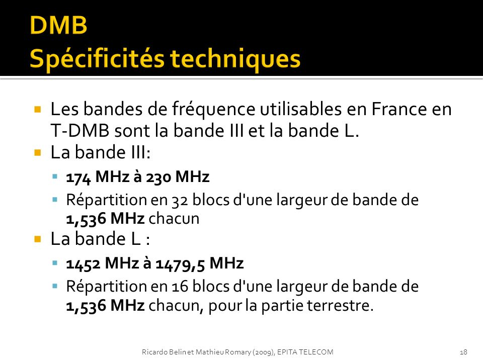 DMB Spécificités techniques