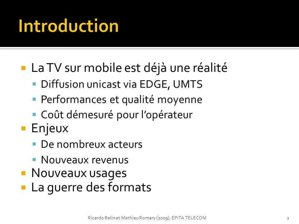Introduction La TV sur mobile est déjà une réalité Enjeux