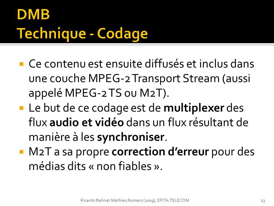 DMB Technique - Codage Ce contenu est ensuite diffusés et inclus dans une couche MPEG-2 Transport Stream (aussi appelé MPEG-2 TS ou M2T).