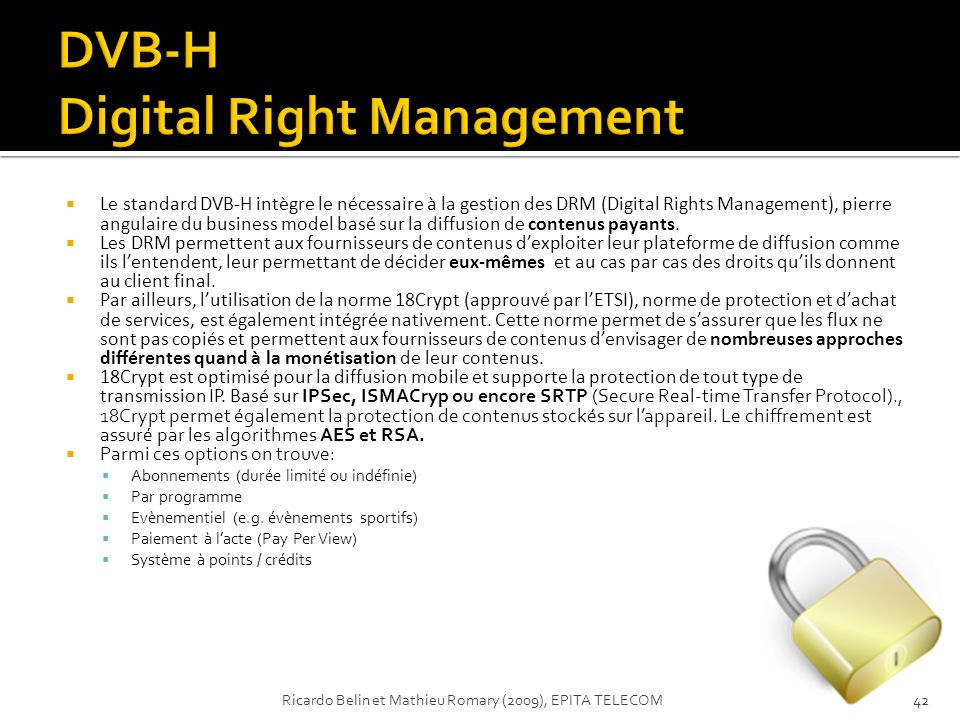 DVB-H Digital Right Management