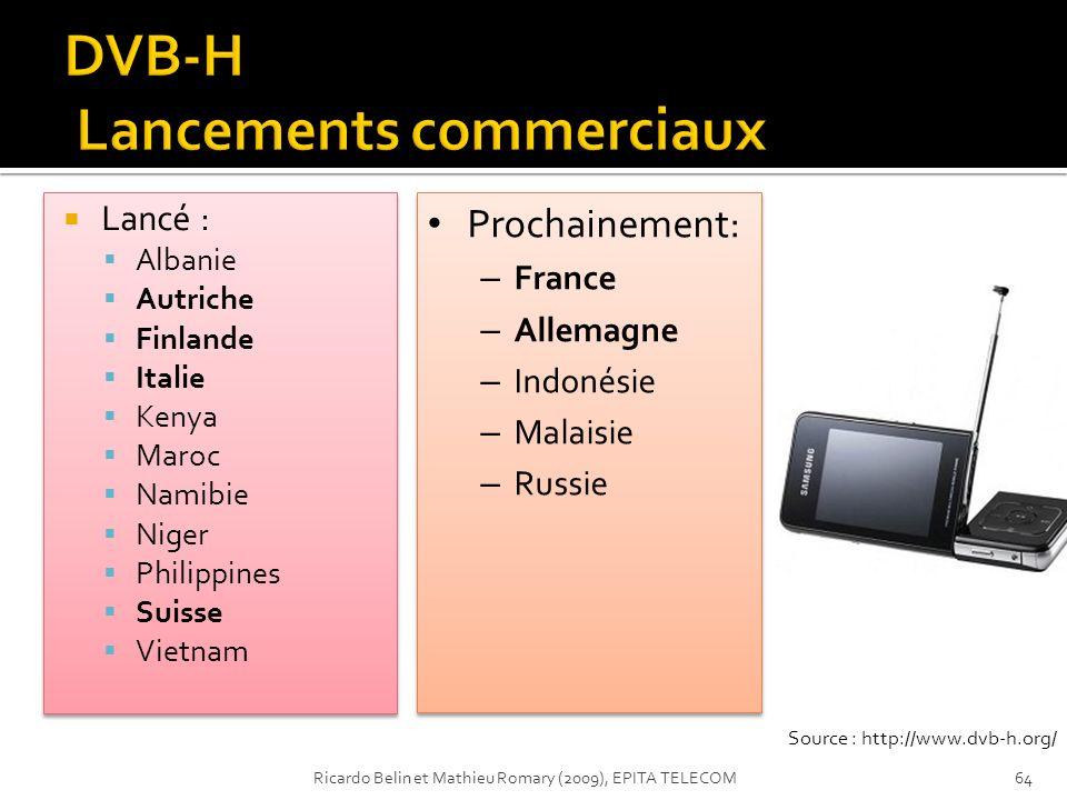 DVB-H Lancements commerciaux