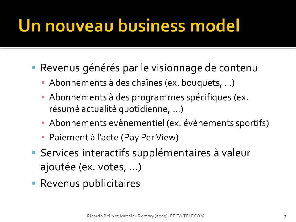 Un nouveau business model