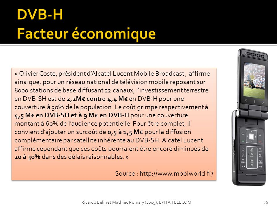 DVB-H Facteur économique