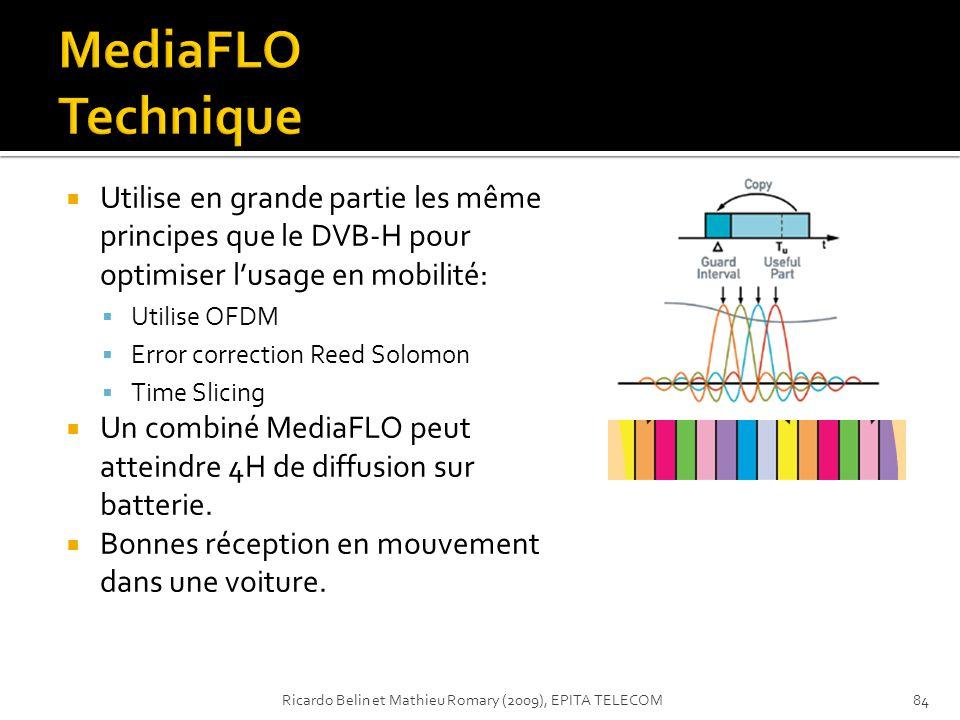 MediaFLO Technique Utilise en grande partie les même principes que le DVB-H pour optimiser l'usage en mobilité: