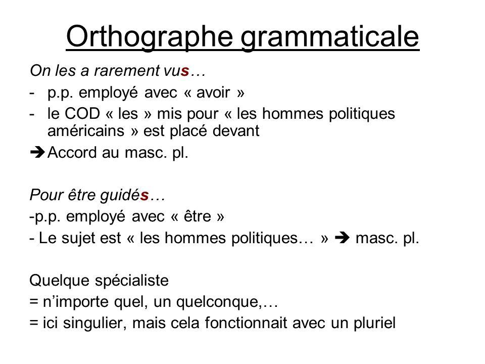 Orthographe grammaticale