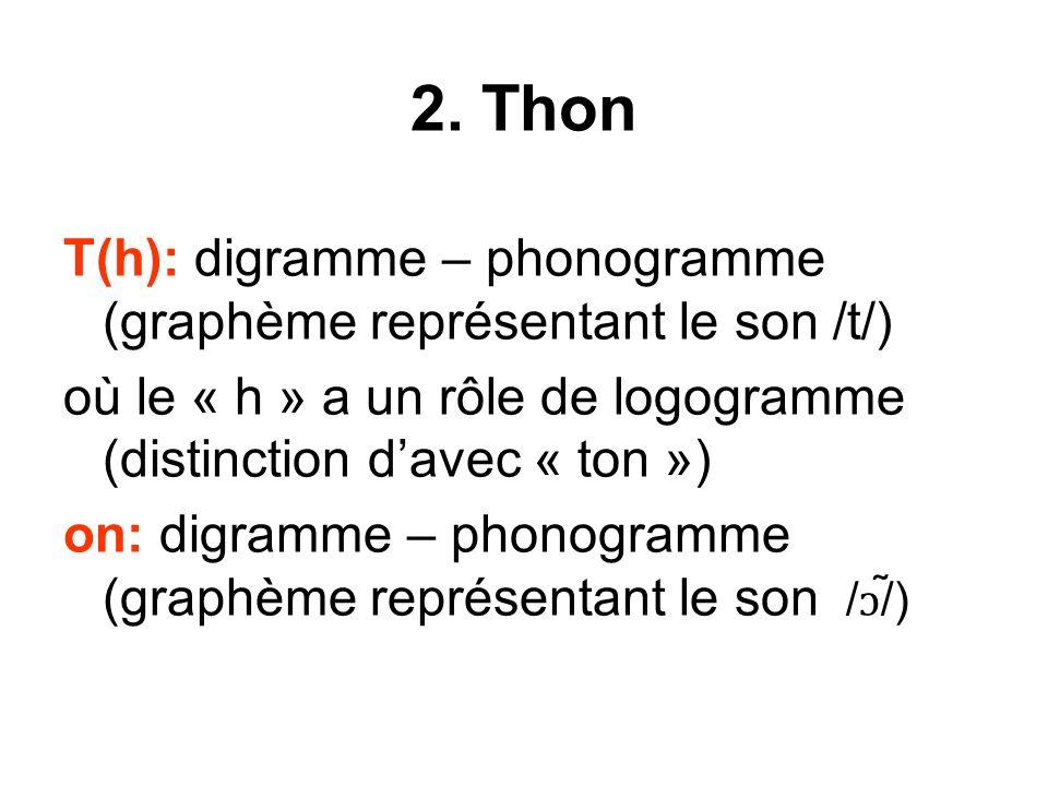 2. Thon T(h): digramme – phonogramme (graphème représentant le son /t/) où le « h » a un rôle de logogramme (distinction d'avec « ton »)