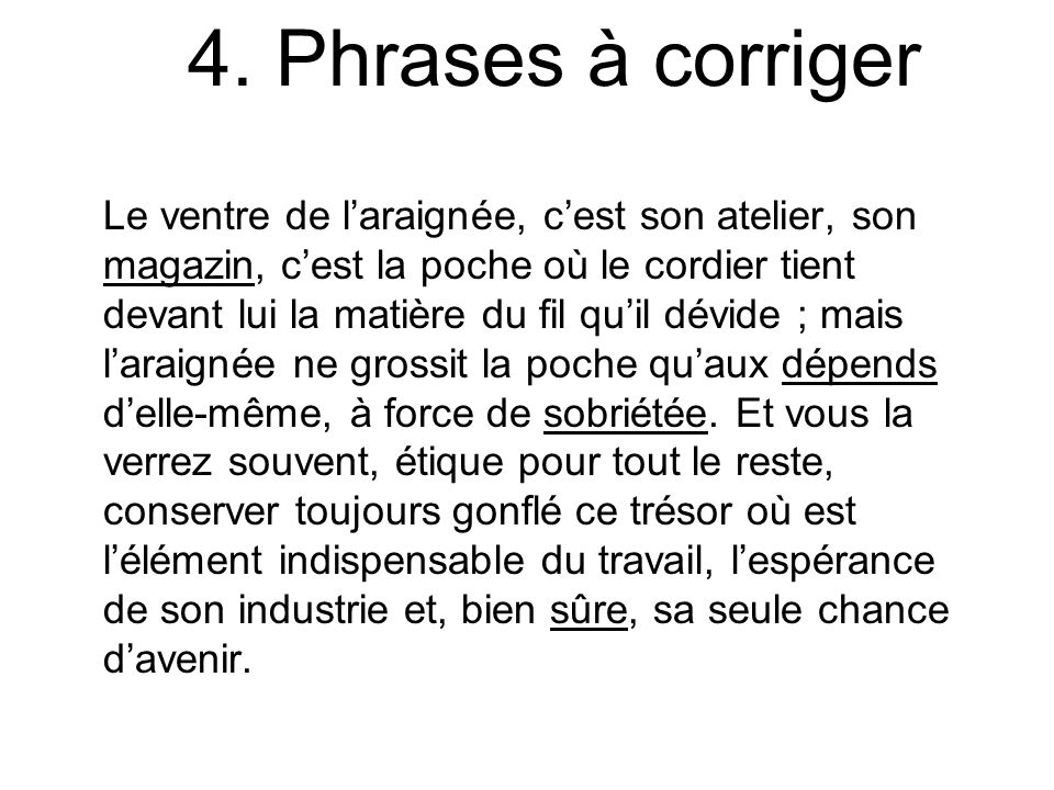 4. Phrases à corriger