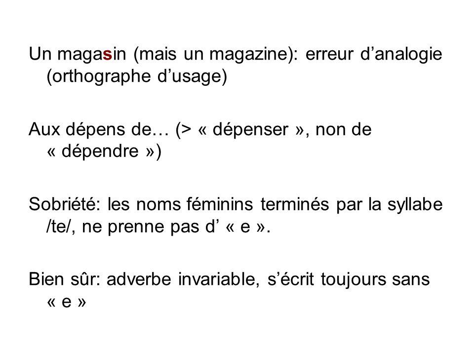 Un magasin (mais un magazine): erreur d'analogie (orthographe d'usage)
