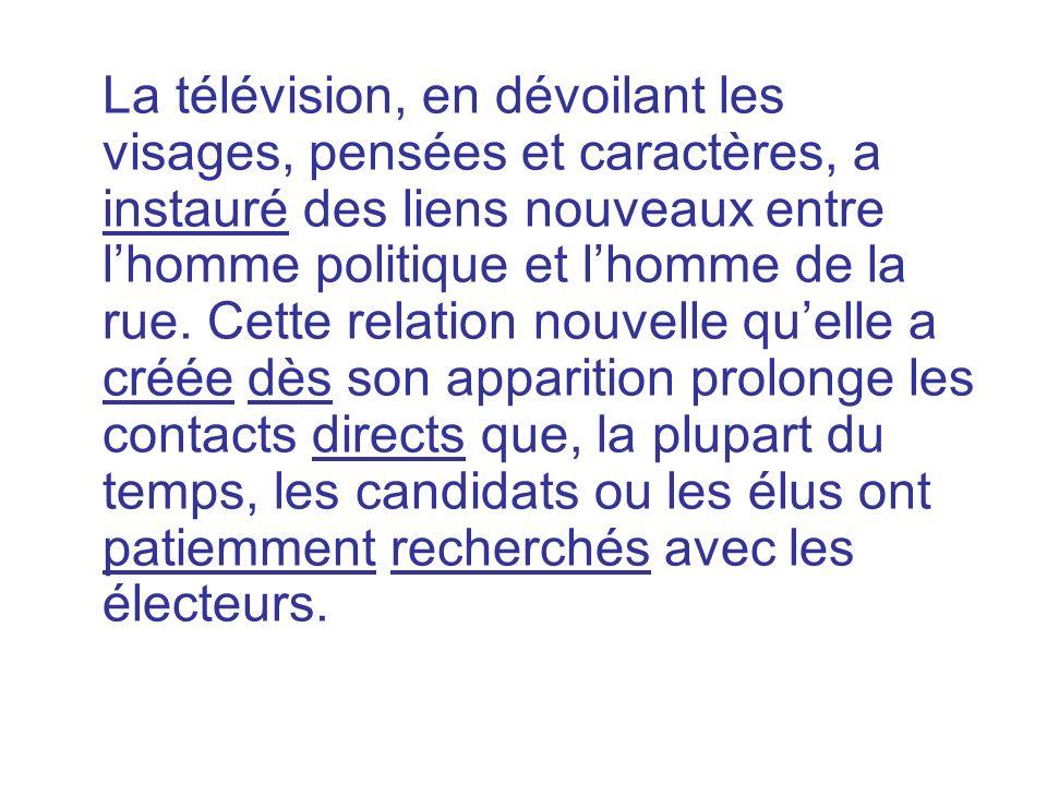 La télévision, en dévoilant les visages, pensées et caractères, a instauré des liens nouveaux entre l'homme politique et l'homme de la rue.