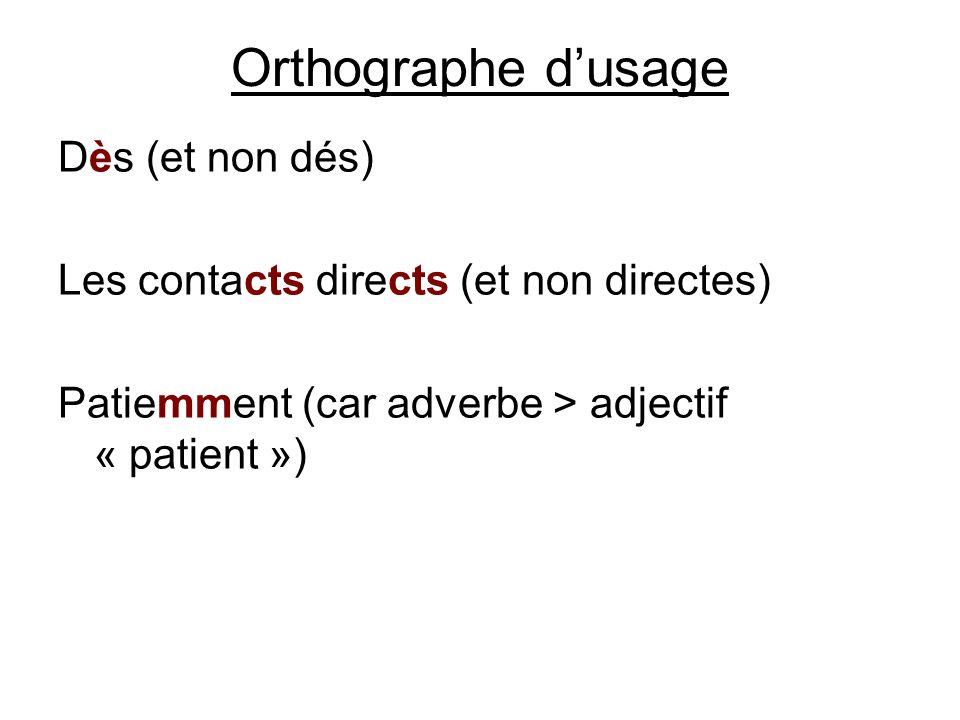 Orthographe d'usage Dès (et non dés)