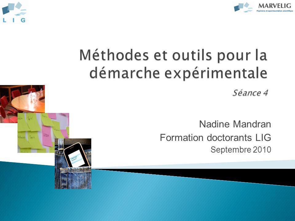 Méthodes et outils pour la démarche expérimentale Séance 4