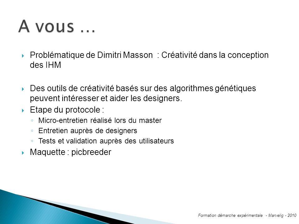 A vous … Problématique de Dimitri Masson : Créativité dans la conception des IHM.