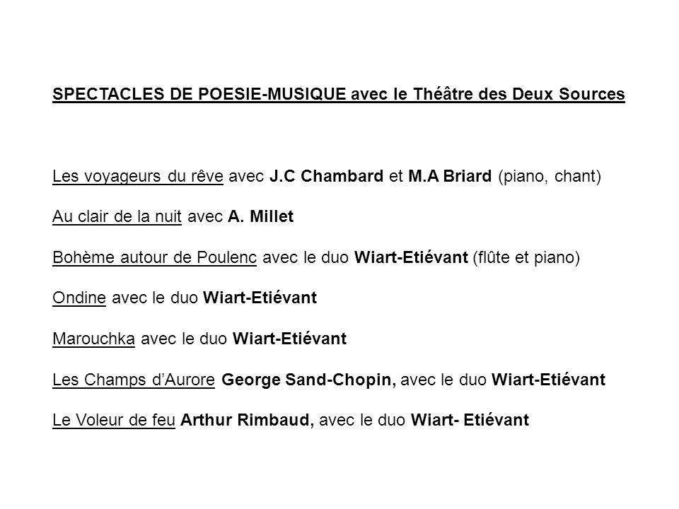 SPECTACLES DE POESIE-MUSIQUE avec le Théâtre des Deux Sources