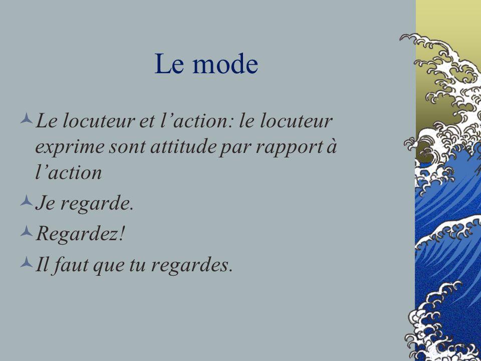Le mode Le locuteur et l'action: le locuteur exprime sont attitude par rapport à l'action. Je regarde.
