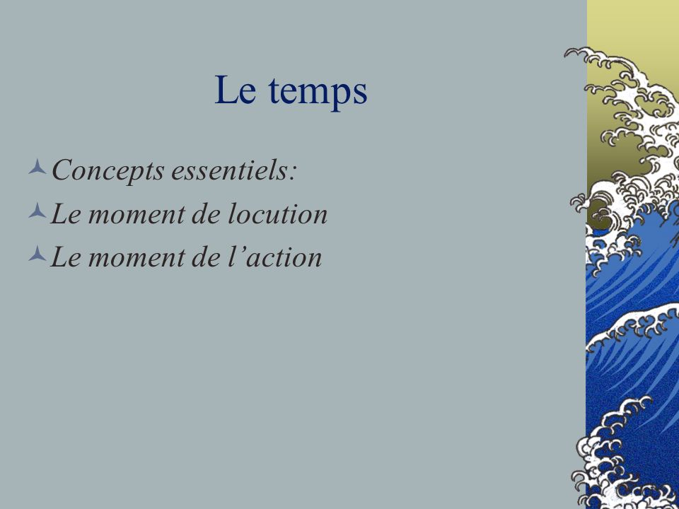 Le temps Concepts essentiels: Le moment de locution