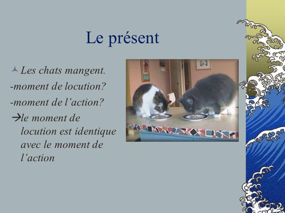 Le présent Les chats mangent. -moment de locution