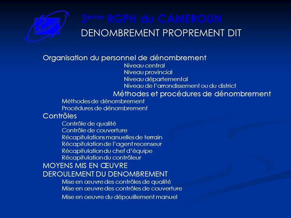 3ème RGPH du CAMEROUN DENOMBREMENT PROPREMENT DIT