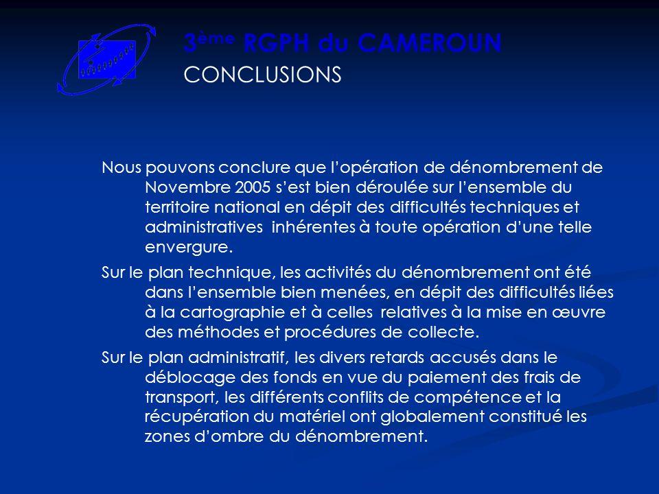 3ème RGPH du CAMEROUN CONCLUSIONS