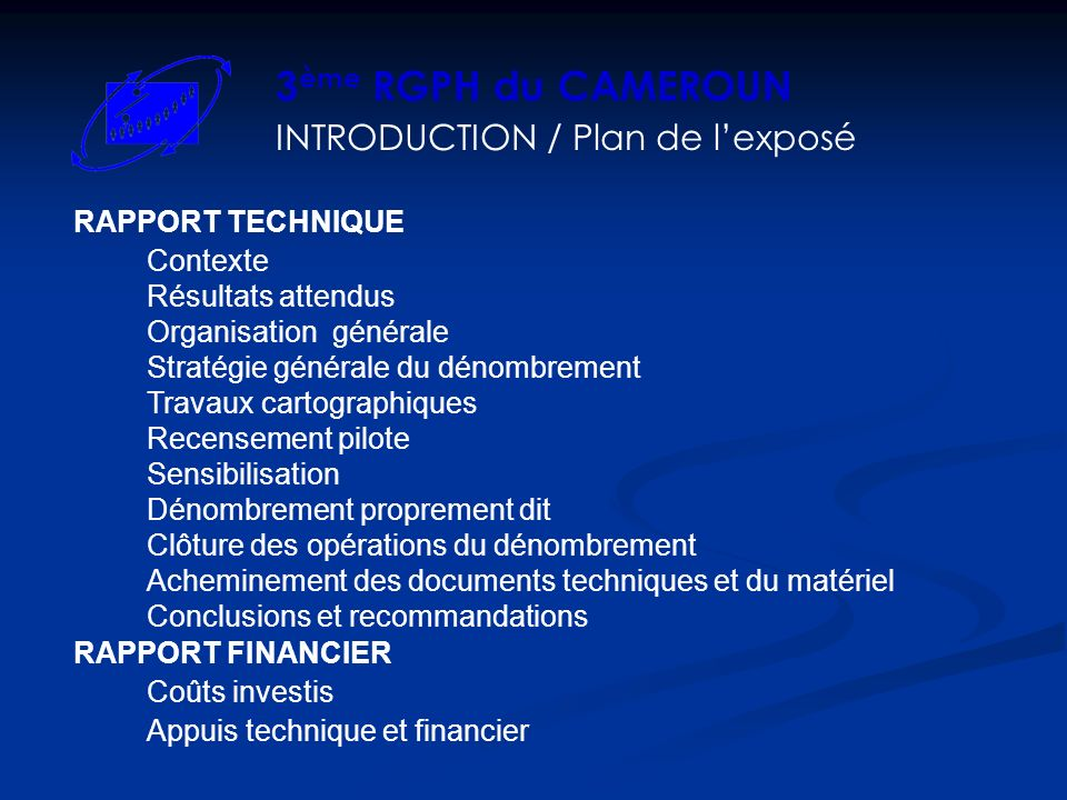 INTRODUCTION / Plan de l'exposé