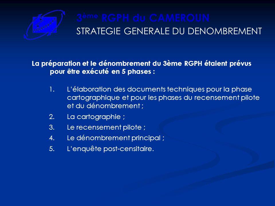 3ème RGPH du CAMEROUN STRATEGIE GENERALE DU DENOMBREMENT