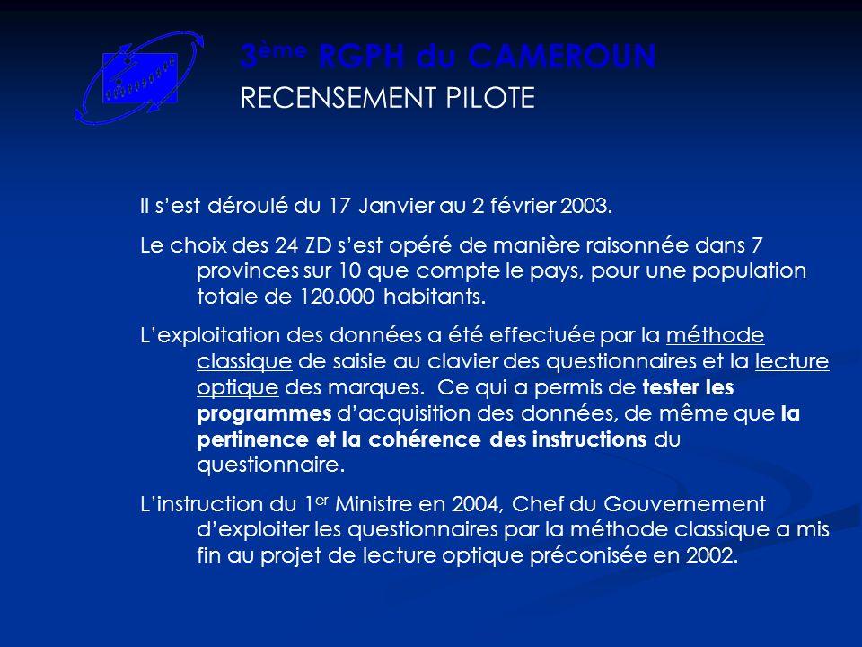 3ème RGPH du CAMEROUN RECENSEMENT PILOTE