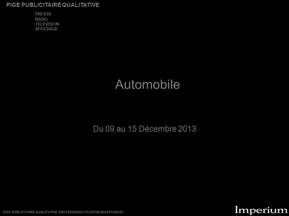 Automobile Du 09 au 15 Décembre 2013 PRESSE