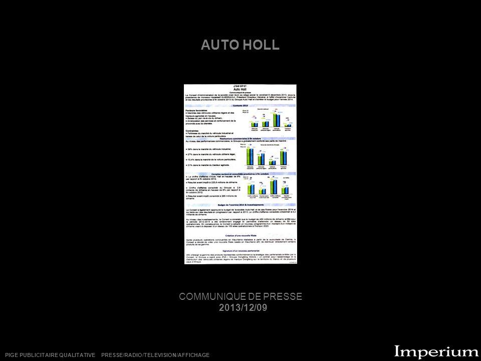 AUTO HOLL COMMUNIQUE DE PRESSE 2013/12/09
