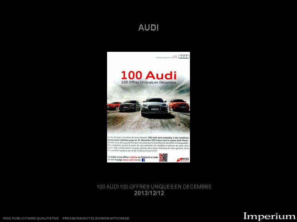 100 AUDI 100 OFFRES UNIQUES EN DECEMBRE