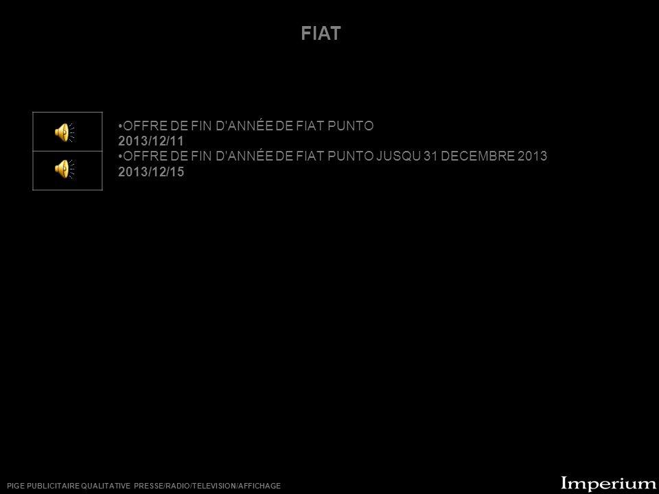 ********** FIAT OFFRE DE FIN D ANNÉE DE FIAT PUNTO 2013/12/11