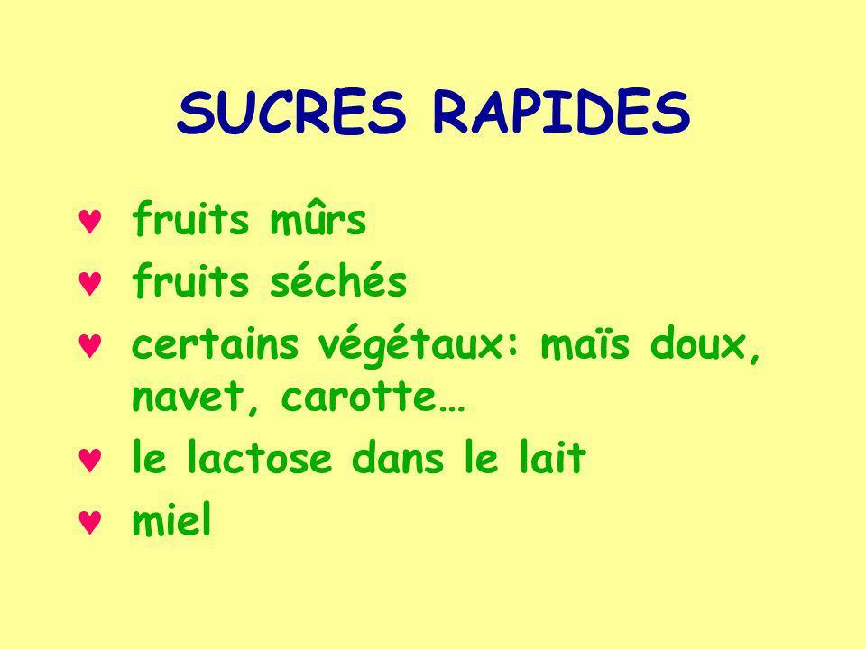 SUCRES RAPIDES fruits mûrs fruits séchés
