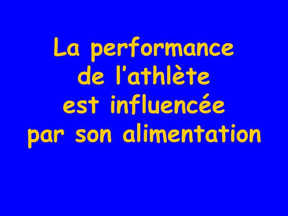 La performance de l'athlète est influencée par son alimentation