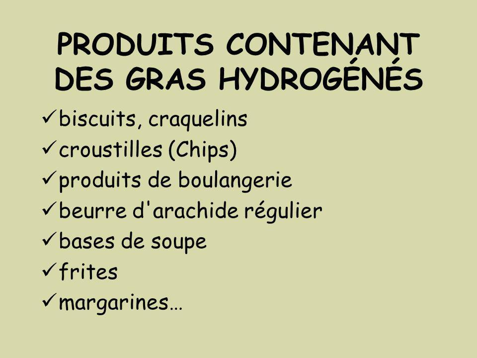 PRODUITS CONTENANT DES GRAS HYDROGÉNÉS