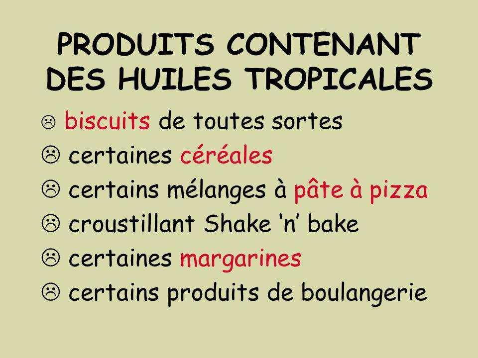 PRODUITS CONTENANT DES HUILES TROPICALES