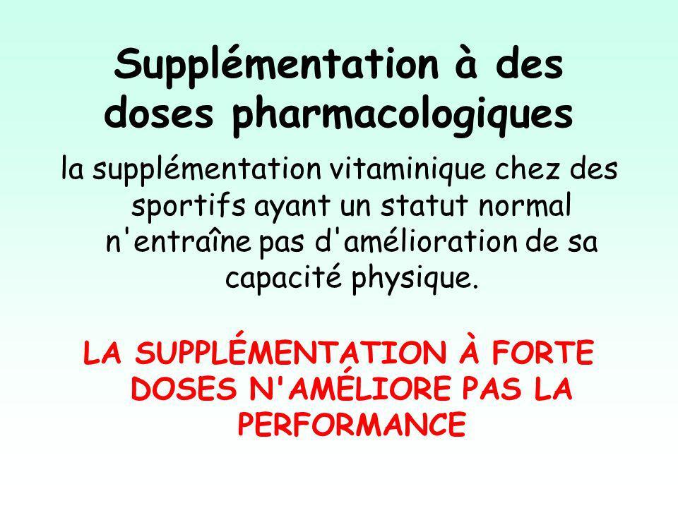 Supplémentation à des doses pharmacologiques