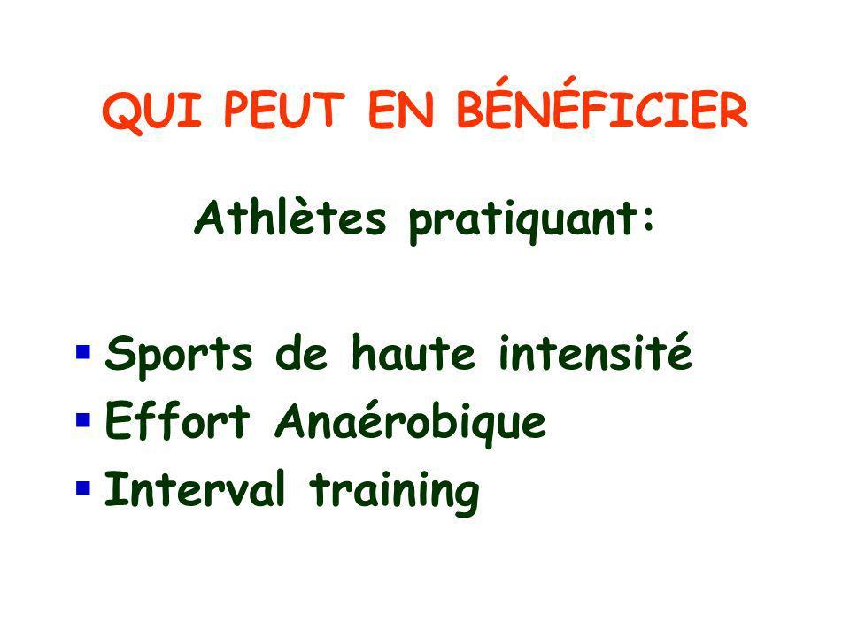 QUI PEUT EN BÉNÉFICIER Athlètes pratiquant: Sports de haute intensité.